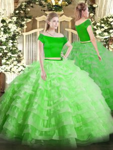 Off The Shoulder Short Sleeves Tulle Sweet 16 Quinceanera Dress Appliques and Ruffled Layers Zipper