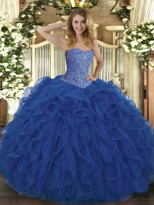 Graceful Royal Blue Sweetheart Neckline Beading and Ruffles Quinceanera Dress Sleeveless Lace Up