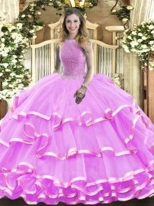 Sleeveless Organza Floor Length Lace Up 15 Quinceanera Dress in Lilac with Beading and Ruffled Layers