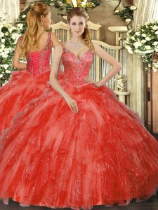 Dramatic Red V-neck Neckline Beading and Ruffles Quinceanera Gown Sleeveless Lace Up