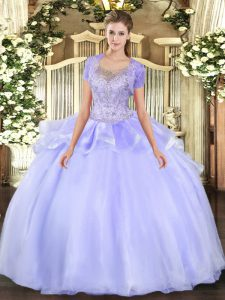 Top Selling Lavender Clasp Handle Ball Gown Prom Dress Beading and Ruffles Sleeveless Floor Length
