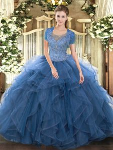 Teal Ball Gowns Beading and Ruffled Layers 15 Quinceanera Dress Clasp Handle Tulle Sleeveless Floor Length