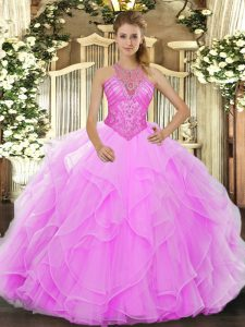 Amazing Ball Gowns Vestidos de Quinceanera Rose Pink High-neck Organza Sleeveless Floor Length Lace Up
