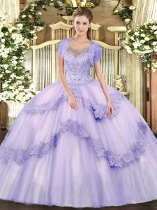Superior Lavender Tulle Clasp Handle Scoop Sleeveless Floor Length Quinceanera Dress Beading and Appliques