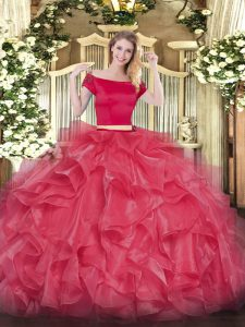 Clearance Coral Red Off The Shoulder Neckline Appliques and Ruffles Sweet 16 Quinceanera Dress Short Sleeves Zipper