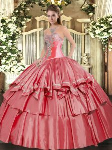 Sweetheart Sleeveless Ball Gown Prom Dress Floor Length Beading and Ruffled Layers Coral Red Organza and Taffeta