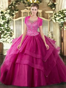 Popular Hot Pink Clasp Handle Scoop Beading and Ruffles Ball Gown Prom Dress Tulle Sleeveless