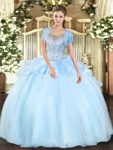 Organza and Tulle Sleeveless Floor Length Quinceanera Dress and Beading