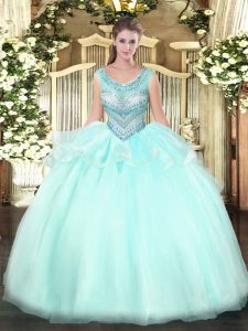 Eye-catching Aqua Blue Ball Gowns Beading Quinceanera Dress Lace Up Organza Sleeveless Floor Length