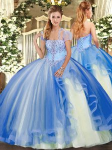 Strapless Sleeveless Vestidos de Quinceanera Floor Length Appliques and Ruffles Blue Tulle