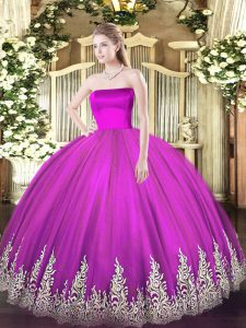 New Arrival Fuchsia Sweet 16 Quinceanera Dress Military Ball and Sweet 16 and Quinceanera with Appliques Strapless Sleeveless Zipper
