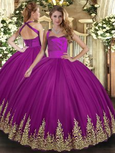 Ball Gowns Sweet 16 Dresses Fuchsia Halter Top Tulle Sleeveless Floor Length Lace Up