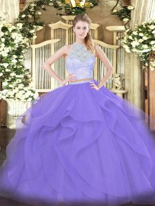 Noble Lavender Quinceanera Dresses Military Ball and Sweet 16 and Quinceanera with Lace and Ruffles Scoop Sleeveless Zipper