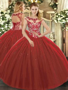 Floor Length Lace Up 15 Quinceanera Dress Wine Red for Sweet 16 and Quinceanera with Beading and Appliques