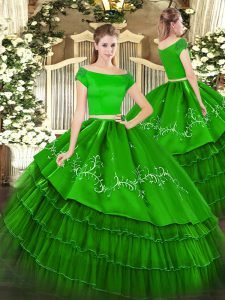 Green Sweet 16 Dress Military Ball and Sweet 16 and Quinceanera with Embroidery and Ruffled Layers Off The Shoulder Short Sleeves Zipper