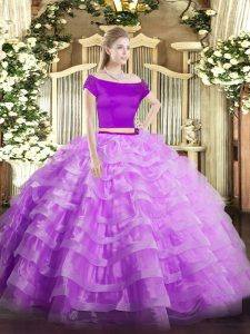 Adorable Floor Length Two Pieces Short Sleeves Lilac Ball Gown Prom Dress Zipper