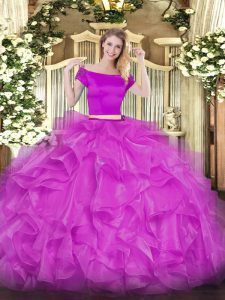 Admirable Fuchsia Zipper Quinceanera Dresses Appliques and Ruffles Short Sleeves Floor Length