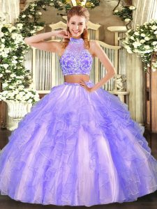 Glamorous Lavender Halter Top Neckline Beading and Ruffled Layers Sweet 16 Dress Sleeveless Criss Cross