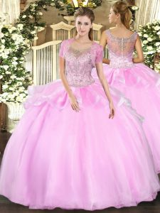 New Style Sleeveless Tulle Floor Length Clasp Handle Vestidos de Quinceanera in Baby Pink with Beading and Ruffles