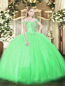 Designer Ball Gowns 15 Quinceanera Dress Off The Shoulder Tulle Sleeveless Floor Length Lace Up