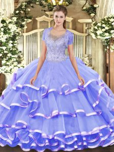 Lavender Scoop Neckline Beading and Ruffled Layers 15 Quinceanera Dress Sleeveless Clasp Handle