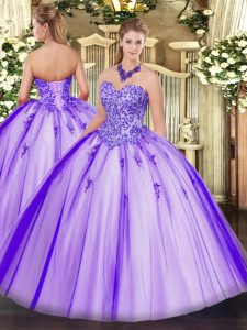 Shining Lavender Sweetheart Neckline Appliques Quince Ball Gowns Sleeveless Lace Up