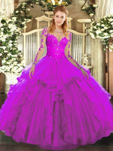 High Quality Scoop Long Sleeves Tulle Quince Ball Gowns Lace and Ruffles Lace Up
