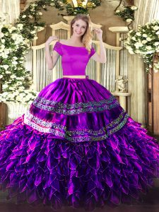 Cheap Two Pieces Vestidos de Quinceanera Eggplant Purple Off The Shoulder Organza and Taffeta Short Sleeves Floor Length Zipper