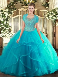 New Style Scoop Sleeveless Quinceanera Dress Floor Length Beading and Ruffled Layers Aqua Blue Tulle