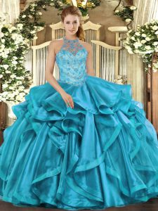 Eye-catching Floor Length Teal Quinceanera Dress Organza Sleeveless Beading
