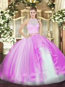 Custom Designed Floor Length Zipper Vestidos de Quinceanera Lilac for Military Ball and Sweet 16 and Quinceanera with Lace and Ruffles