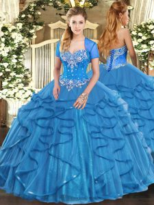 Dramatic Floor Length Ball Gowns Sleeveless Baby Blue Vestidos de Quinceanera Lace Up