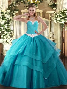 Ball Gowns Sweet 16 Dress Teal Sweetheart Tulle Sleeveless Floor Length Lace Up