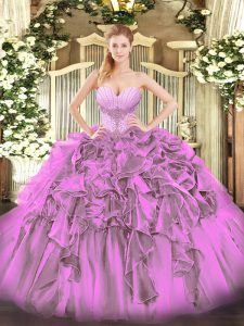 Charming Lilac Lace Up Sweetheart Beading and Ruffles 15 Quinceanera Dress Organza Sleeveless