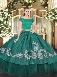 Organza and Taffeta Off The Shoulder Short Sleeves Zipper Embroidery Sweet 16 Dress in Teal