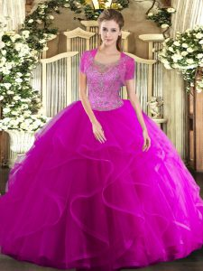 Fuchsia Tulle Clasp Handle Quinceanera Gowns Sleeveless Floor Length Beading and Ruffled Layers