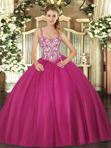 Straps Sleeveless Sweet 16 Quinceanera Dress Floor Length Beading and Appliques Fuchsia Tulle