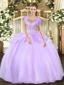 Lavender Tulle Clasp Handle Ball Gown Prom Dress Sleeveless Floor Length Beading and Ruffles