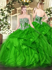 Ball Gowns Beading and Ruffles Vestidos de Quinceanera Lace Up Organza Sleeveless Floor Length
