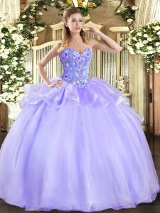 Exceptional Lavender Organza and Tulle Lace Up Sweetheart Sleeveless Floor Length Sweet 16 Dresses Embroidery