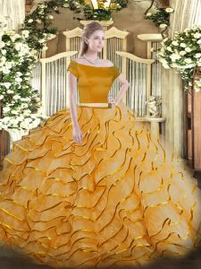 Short Sleeves Tulle Brush Train Zipper Sweet 16 Dresses in Orange with Appliques and Ruffled Layers