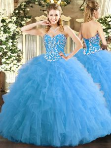 Aqua Blue Tulle Lace Up Sweetheart Sleeveless Floor Length Quince Ball Gowns Beading and Ruffles