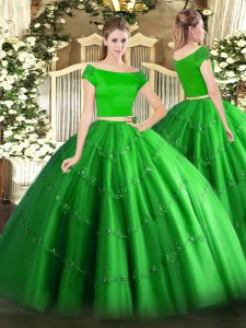 Green Two Pieces Appliques Vestidos de Quinceanera Zipper Tulle Short Sleeves Floor Length