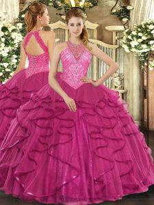 Latest Floor Length Hot Pink Quince Ball Gowns High-neck Sleeveless Lace Up