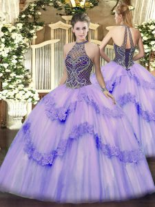 Lavender Sleeveless Tulle Lace Up Sweet 16 Dress for Sweet 16 and Quinceanera