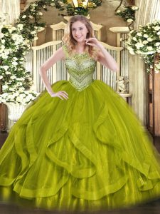Dramatic Olive Green Sleeveless Beading Floor Length Quince Ball Gowns