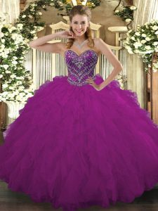Hot Selling Sleeveless Floor Length Beading and Ruffled Layers Lace Up Quinceanera Gowns with Fuchsia