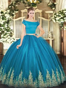Teal Off The Shoulder Neckline Appliques Vestidos de Quinceanera Short Sleeves Zipper