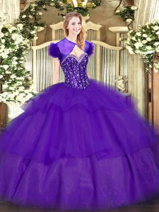 Flare Purple Tulle Lace Up Sweetheart Sleeveless Floor Length Sweet 16 Dresses Ruffled Layers