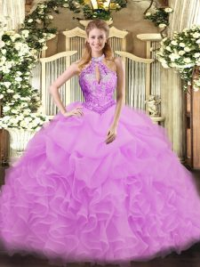 Popular Sleeveless Organza Floor Length Lace Up Sweet 16 Dresses in Lilac with Beading